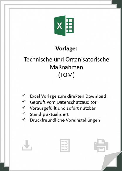 Die Vorlage zur Dokumentation der technischen und organisatorischen maßnahmen in Excel nach DSGVO.