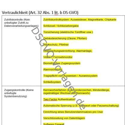 Einblick in die Word Vorlage zur Dokumenation der TOM nach DSGVO.