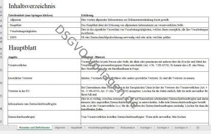 Inhalt und Erklärungen zum DSGVO Muster.