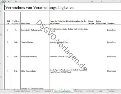 Einblick in das Muster zum Verzeichnis von Verarbeitungstätigkeiten nach DSGVO in Excel.