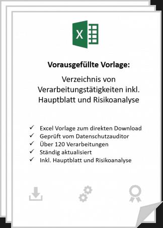 VVT nach DSGVO in Excel inkl. Hauptblatt und Risikoanalyse