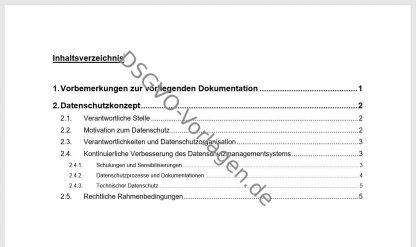 Inhaltsverzeichnis zur Vorlage für ein Datenschutzkonzept nach DSGVO