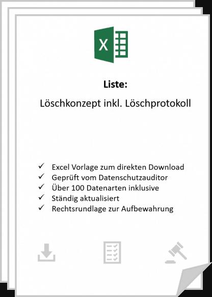 Löschkonzept inkl. Löschprotokoll mit über 100 Datenarten zum Download in Excel.