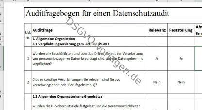 Beispiel für Auditfragen für einen Datenschutzaudit nach DSGVO.