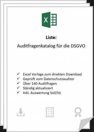 DSGVO Audit Checkliste - Auditfragen nach DSGVO zum herunterladen in Excel.