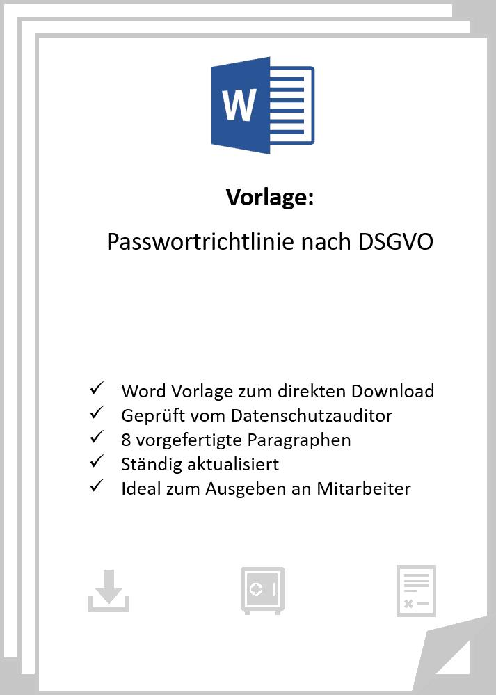 Passwortrichtlinie Nach Dsgvo In Word Dsgvo Vorlagen Shop