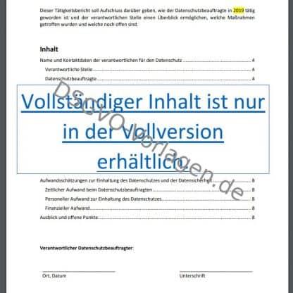 Inhaltsverzeichnis Tätigkeitsbericht nach DSGVO.