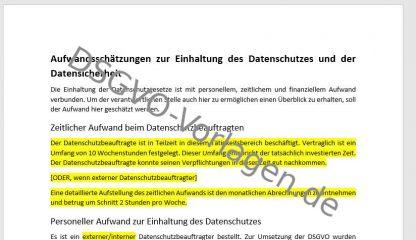 Personnerl Aufwand gehört in einen Datenschutzbericht nach DSGVO.